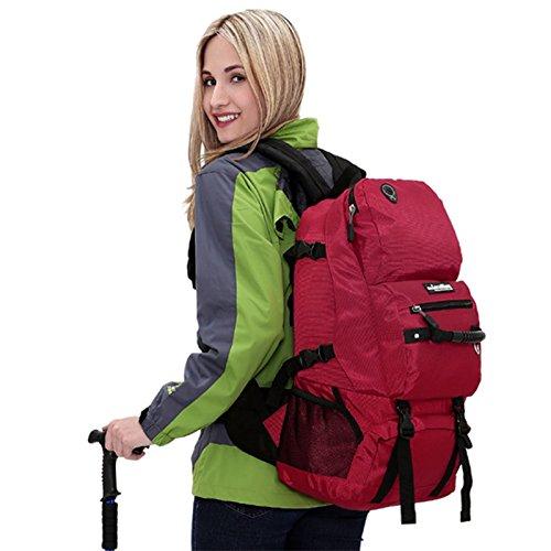 Padgene Groß Outdoor Rucksack Gepäck 40L Wasserdicht Trekkingrucksäcke Backpacker Reiserucksack (Rot) Rot