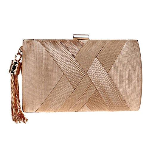 Da Donna Raso Nappa Clutch Handbag Cristallo Sera Ballo Di Fine Anno Festa Nozze Borse. 17.5 X 11 X 7 Cm . Gold . One Size