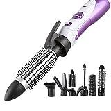PIAOL 7-en-1 Multifonctionnelle Appareils Et Outils De Coiffure (Brosse Soufflante Rotative Brush/Sèche-cheveux/Fers à Boucler/Fers à Lisser/Brosses Lissante/Peigne/ajutage Etc)