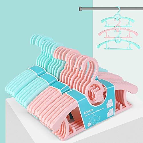 Bamny mitwachsende Kinderkleiderbügel platzsparend mit stapelbaren Bärchen-Haken rutschfeste Kleiderbügel für Babys und Kleinkinder (20er Set)