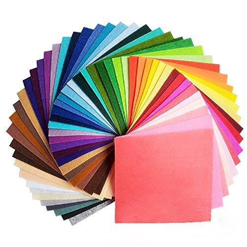 (42Pcs Filzstoff Farbig Bastelfilz Steif Vliesstoff DIY Handwerk Projekte Patchwork Stoffe Filz Paket zum Nähen 20cm X 20cm X 1mm)