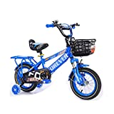 FINLR Kinder Fahrrad Junge Mädchen Baby Kinderfahrräder Kind Pedal Fahrrad 3 Farben 12/14/16/18 Zoll Stoßdämpfungsfunktion Mit Stabilisatoren Und Rücksitz (Color : Blue, Size : 16 inches)