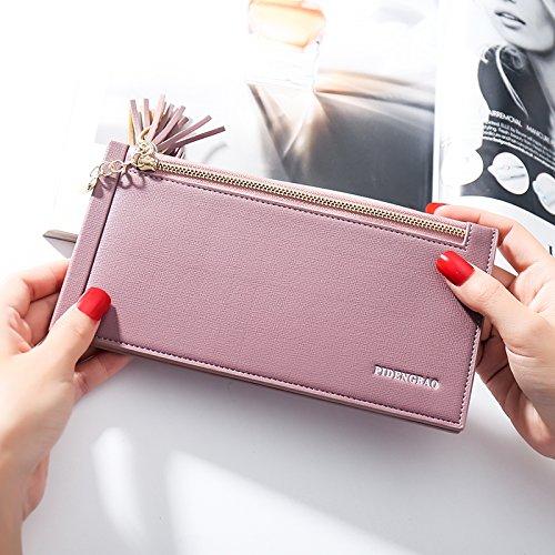 LaDicha Women Pu Leder Multi Card Organizer Wallet Quaste Damen Geldbörse Mit Reißverschlusstasche - Hellviolett