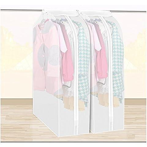 Conjunto de 2 Transpirable bolsa de ropa para trajes, abrigos cierre de cremallera Bolsa portatrajes,Transparente