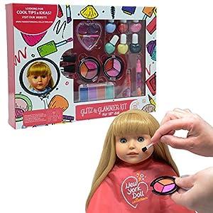 The New York Doll Collection E156 Maquillaje Lavable para muñecas y niños, Juego de cosméticos, Multicolor, 18-Inch