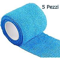 Yosoo Elastico Adesivo Bendaggio Coesivo, 5 x 4,6 cm, Confezione da 5, Blu