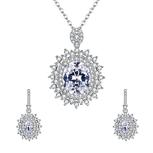 EVER FAITH 925 Sterling Silver Oval CZ Bridal Elegant Teardrop Halo Necklace Earrings Set Clear