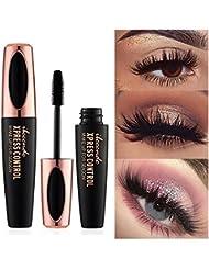 Kobwa 4D Silk Fiber Lash Mascara - Waterproof Curling Natural Eye Makeup - Long Lasting, No Blooming, Extra Long and Thick Eyelashes, Black