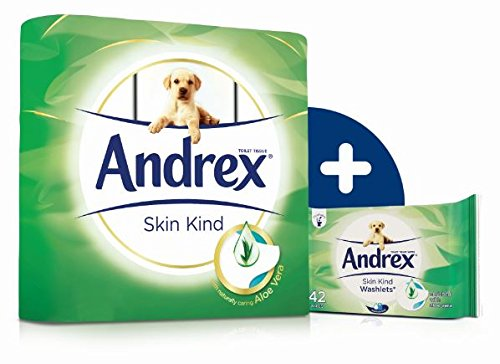 Andrex Skin Kind Toilet Roll Tissue Paper with Aloe Vera – 45 Rolls