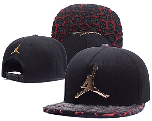 Jordan Iron standard hats Unisex Fashion Cool Snapback Baseball Cap Black 8 One Size