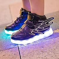 IPOTCH Alas Led Iluminar Zapatos Intermitentes Zapatillas Recargables para Niños - Negro, 35