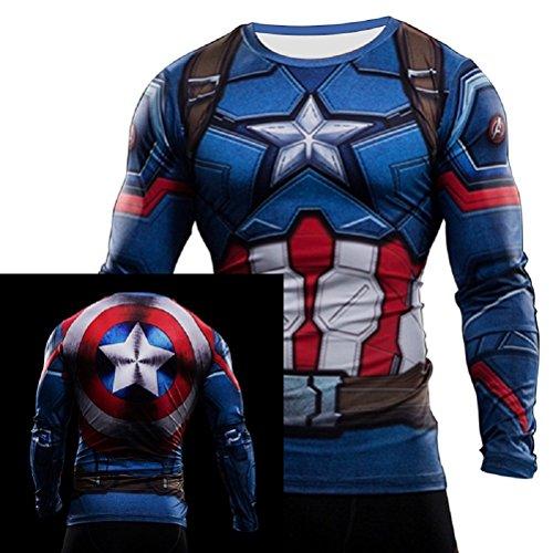 born2ridetm costume/palestra/Ciclismo manica corta compressione Baselayer Maglietta Tops New Captain America Medium