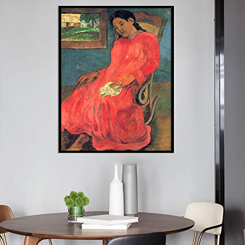 RTCKF Abstract Red Dress Woman Poster Canvas Painting