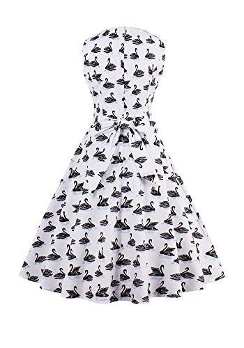 MISSEUROUS Damen Elegant Frauen - retro - um Den Hals floral Druck von Großen Swing - Kleid C