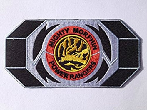 Morphin Mighty Kostüm Red Ranger - Mighty Morphin Power Rangers Morpher Aufnäher (14 cm) Blau Power Ranger Patch bestickt Eisen/Nähen auf Badge Souvenir DIY Kostüm