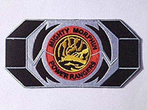 Red Kostüm Rangers Mighty Morphin Power Ranger - Mighty Morphin Power Rangers Morpher Aufnäher (14 cm) Blau Power Ranger Patch bestickt Eisen/Nähen auf Badge Souvenir DIY Kostüm