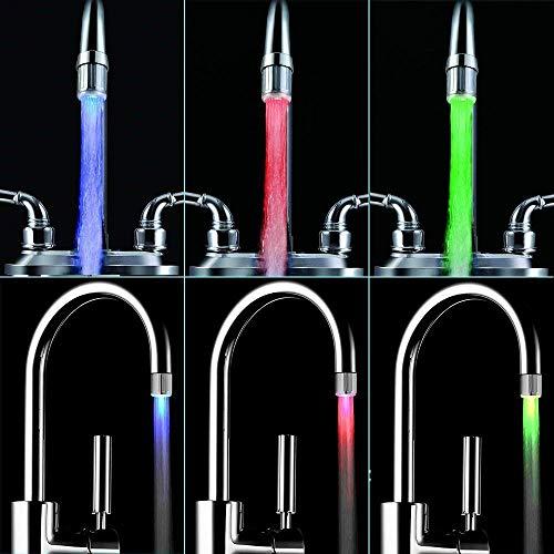 LED Wasser Wasserhahn ändert sich die farbe je nach Temperatur auf der Wasser. Blau für Cool, grün für Warm, rot für Hot. Passt Männlich & Innengewinde Wasserhähne perfekt für Küchen und Badezimmer von toilight - 5