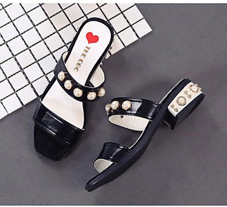 Las mujeres 039 s sandalias verano PU Confort confort informal Cordón Beige talón plano blanco negro UK3.5 FlatBlackUS5.5...