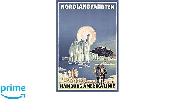 Blechschild Nordlandfahrten Hamburg amerika Linie  Deko