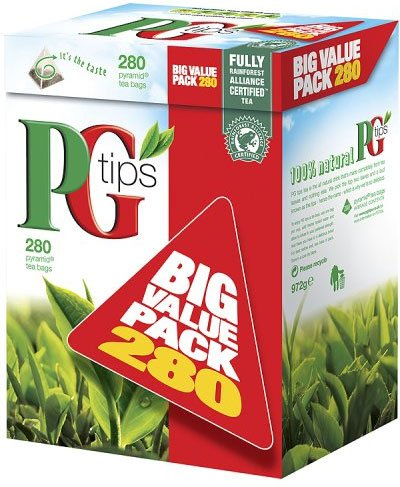 PG Tips Pyramid BIG VALUE PACK 280 Btl. 875g - Schwarzer Tee im Pyramid® Teebeutel -