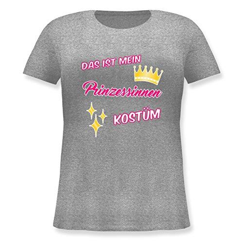 (Karneval & Fasching - Das ist Mein Prinzessinnen Kostüm - L (48) - Grau meliert - JHK601 - Lockeres Damen-Shirt in großen Größen mit Rundhalsausschnitt)