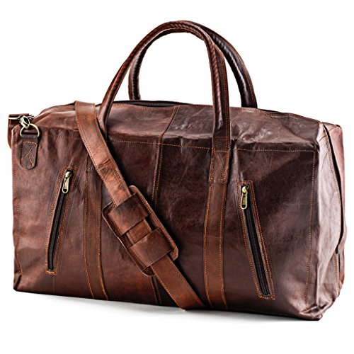 A.P. Donovan - Weekender Leder Herren vintage - Reisetasche - duffle bag - Sporttasche - Fitness-Tasche - helles Ziegenleder, 53cm x 29cm x 20cm helles Ziegenleder