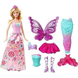 Barbie Bambola con 3 Completini da Favola di Principessa, Sirena e Fatina, Multicolore, DHC39, Model