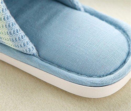 YMFIE Onorevoli colleghi in autunno e in inverno caldo e confortevole casa antislittamento pantofole di cotone semplice striscia di colore scarpe E