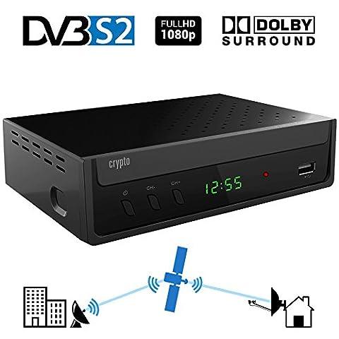 Crypto ReDi S100 DVBS2 Satelliten receiver für öffentliche Sender( DVBS2, Full HD, HDMI, Dolby Digital, SCART, USB 2.0,LNB IN/OUT, Koaxial, Mediaplayer,