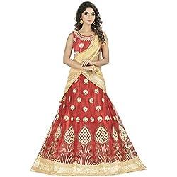 Oomph! Women's Net Bridal Lehenga Choli/Semi Stitched Lehenga Party Wear/Ghagra Choli Weddings, Red