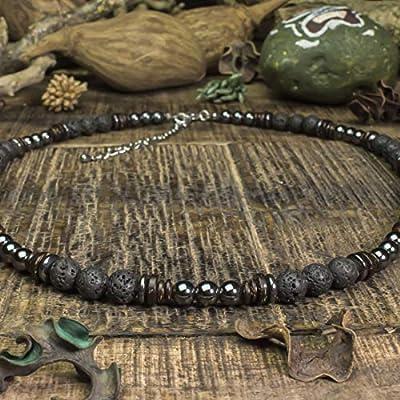 Taille 45cm Collier Homme perles Ø6-8mm pierres naturelles Lave Volcanique Bois Cocotier/Coco Hématite en acier inoxydable/inox couleur argent COLLILAVISS