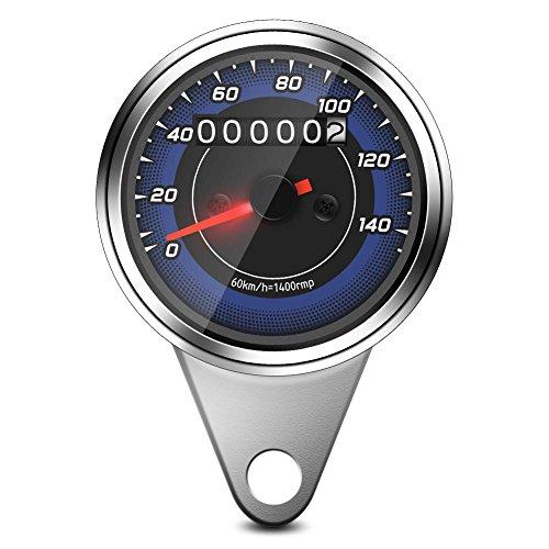 Motorrad-Tachometer, Chrom, 12 V, Universal-Tachometer, Digital, Tachometer, Tachometer, Entfernung, Messung km/h, Anzeige der Geschwindigkeit, für Motorrad, Scooter Geschwindigkeit Anzeige