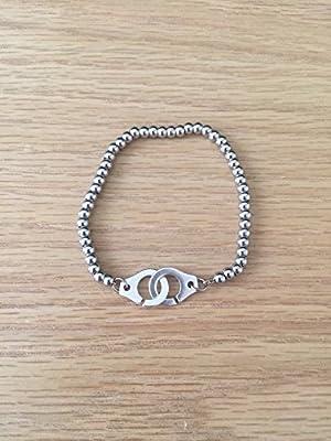 Bracelet menottes perles argentées acier