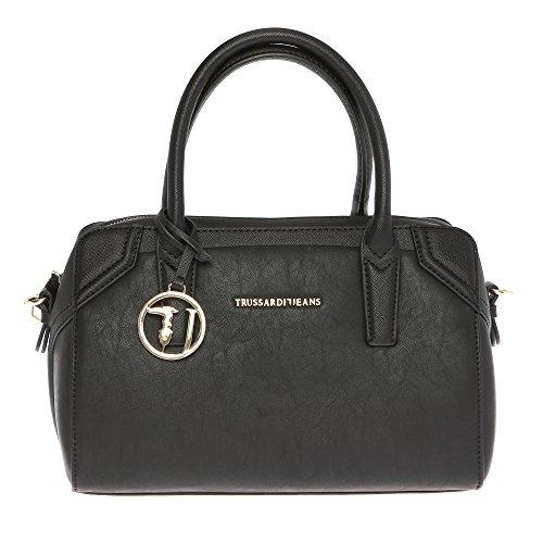 Trussardi Jeans Borsa a Mano Bauletto da Donna con Tracolla in Eco Pelle con Dettagli in Stampa Saffiano - 32x21x14 Cm - Mod. 75B702SSM