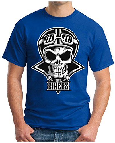 OM3 - SKULL-BIKERS - T-Shirt GEEK, S - 5XL Royalblau