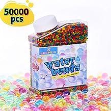 cb68a603d Heegay Perlas de Gel para El Agua 50000psc Cuentas de Agua Multicolor de  Crecimiento Mágico para