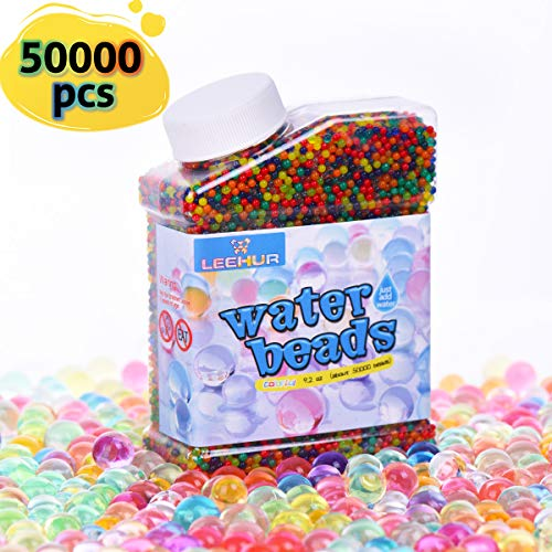 55d1cc10d Heegay Perlas de Gel para El Agua 50000psc Cuentas de Agua Multicolor de  Crecimiento Mágico para