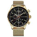 Montre décontractée de Curren pour homme à grand cadran à quartz, montre-bracelet avec bracelet noir et doré en maille milanaise
