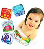 Libros Flotantes para Baño Paquete de 4 de Baby Bibi. Libro de Alfabetos y Números, Libro para Baño con Animales Marinos. 4 Libros para Ducha de Infantes A Prueba de Agua