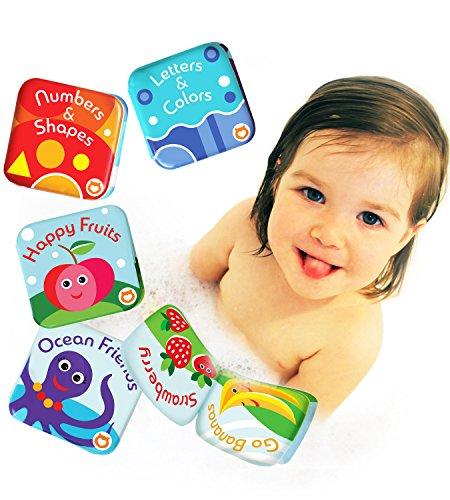 Confezione da 4 Libri Galleggianti per Bagnetto by Baby Bibi. Set Libri per Bambini 4 Temi: Frutti, Alfabeto, Numeri e Creature Oceaniche. 4 Libri Impermeabili da Vasca per Bambini.