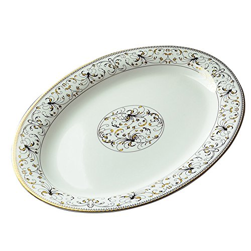 Plaques En Porcelaine 12 Pouces Porcelaine Os Plat De Poisson Ovale En Céramique Plaque Grand Poisson Cuit à La Vapeur Vaisselle Micro-ondes Plaque