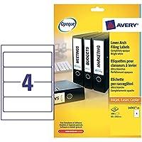 Avery L4761-25 - Pack de 25 hojas de etiquetas para archivadores, 192 x 61 mm, color blanco