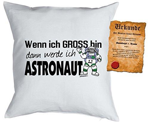 Jungen/Kinder/Deko-Kissen inkl. Spaß-Urkunde Thema Traumberufe: Wenn ich gross bin dann werde ich Astronaut - Geschenkidee