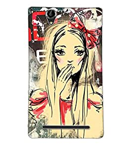 Fuson Cute Girl Back Case Cover for SONY XPERIA T2 ULTRA - D4048