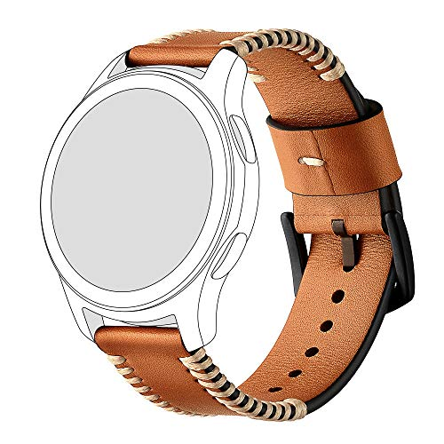 Price comparison product image Fits Samsung Gear S3, Diadia Fashion Sports Replacement 22mm Leather Replacement Watch Wrist Strap Band Fit Samsung Galaxy watch 46mm (Brown)