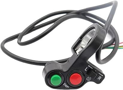 Qiilu 12V corne t/ête lumi/ère noire On-Off bouton guidon commutateur pour moto scooter