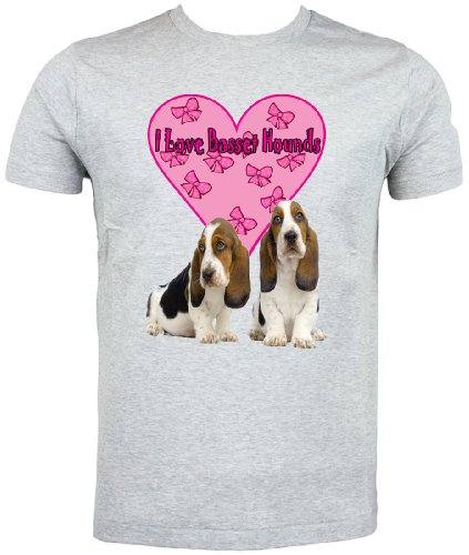 Basset-hound-shirt (Art2Wear Basset Hound T-Shirt, I Love Basset Hounds Gr. Medium, Grau)