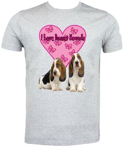 Basset Hound T Shirt, I Love Basset Hounds Grigio