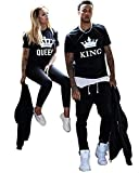 Minetom Hommes Femmes D'été Base Lovers Amoureux MR Never Right et MRS Always Right Lettre Imprimé Couple Couronne KING QUEEN Lettre Hubby Wifey T-Shirt Amants Tops Couronne (KING/QUEEN) FR 40 (Femme)