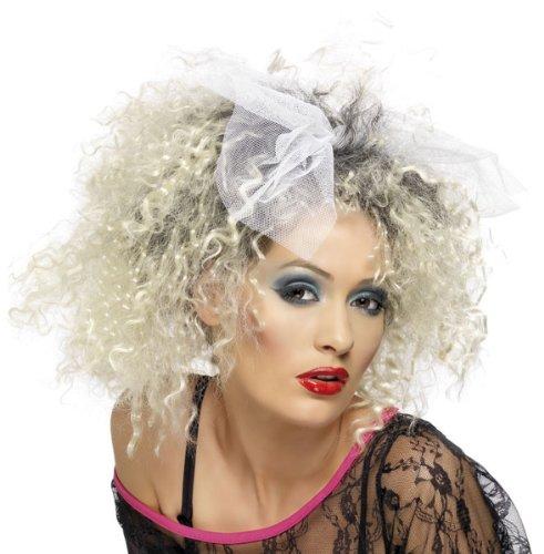 Blonde 80er Jahre Perücke Wild Girl mit Schleife Damenperücke 80iger (Madonna Perücke 80er Jahre)